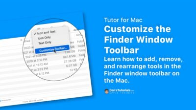 Customize the Finder Window Toolbar on the Mac
