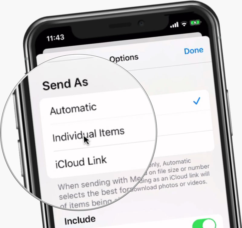 Send Options with Photos on the iPhone