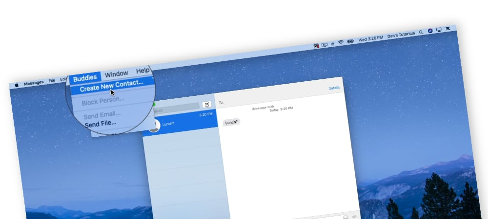 Adding a Contact Card from a Message on the Mac