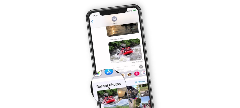 Saving and Sending Photos in Messages on the iPhone