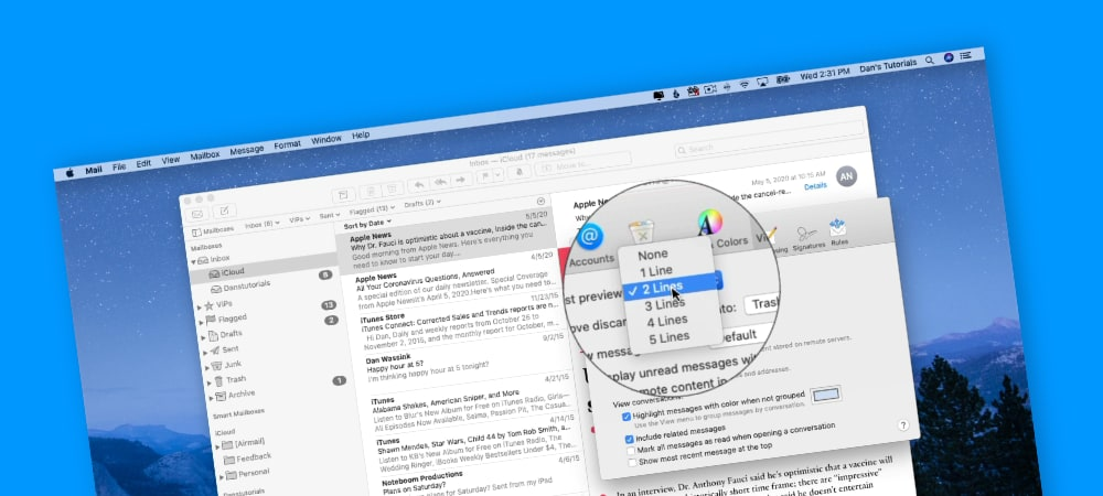 Setting Preview Lines in Mail on the Mac