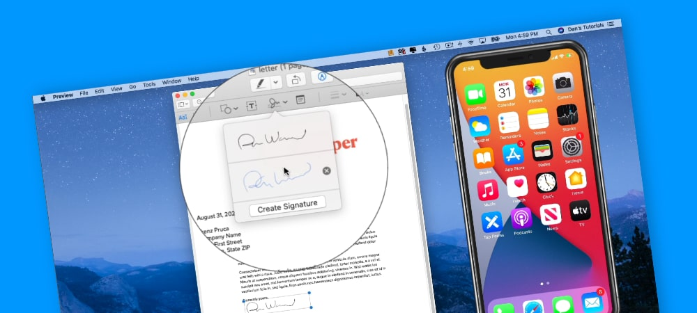Add your Signature to Documents on the Mac