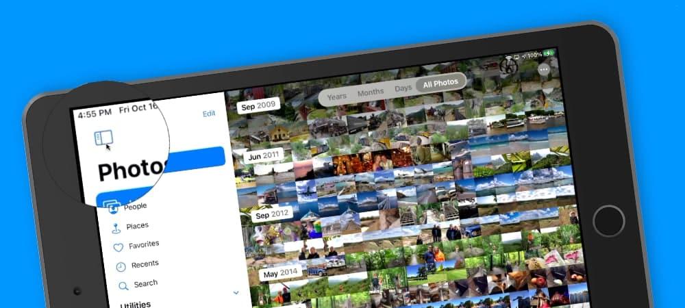 Sidebar in the Photos app on the iPad