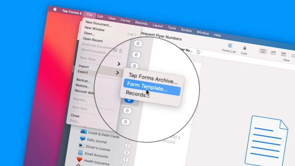 Viewing Sample Forms and Copying Forms in Tap Forms 5 on the Mac