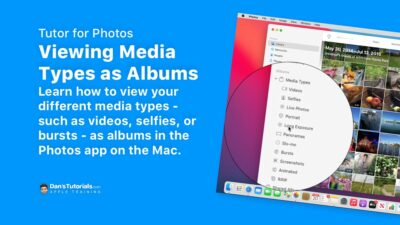 Learn how to view your different media types as albums in the Photos app on the Mac.