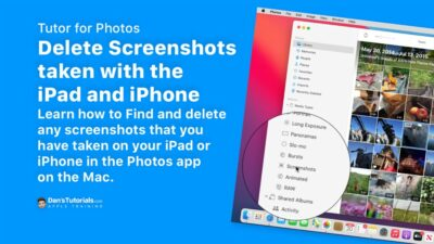Delete Screenshots taken with the iPad and iPhone in the Photos app on the Mac