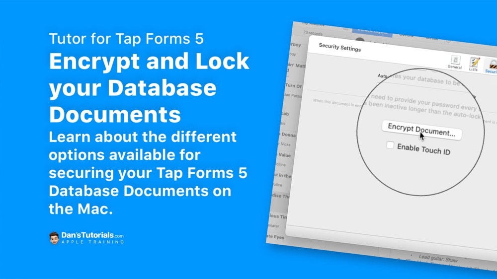 Encrypt and Lock your Database Documents in Tap Forms 5 on the Mac