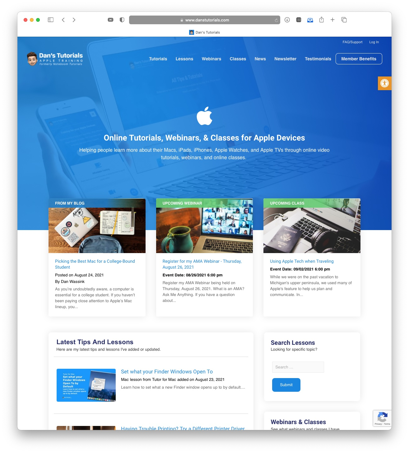 Over 1,500 Mac, iPad, and iPhone Lessons are now Free on Dan's Tutorials Image