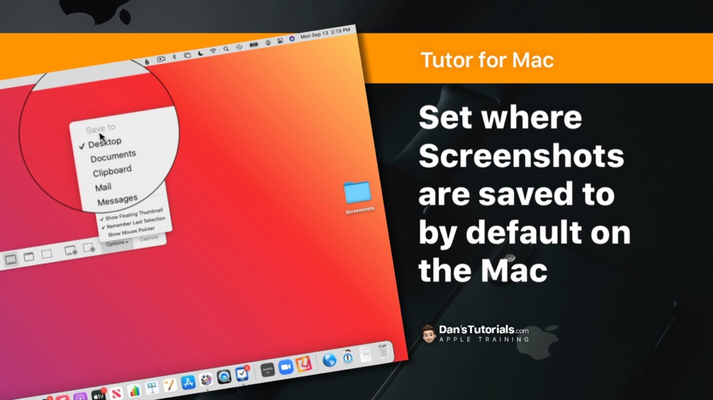 Set where Screenshots are saved to by default on the Mac