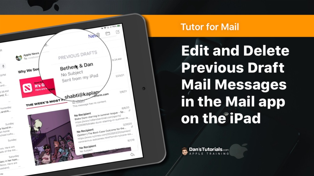 Easily Edit and Delete Previous Draft Mail Messages in the Mail app on the iPad